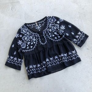 Free People Sheer Black Embroidered Blouse